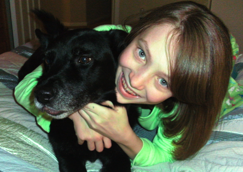 Hayley Lairmore with her dog, Shadow
