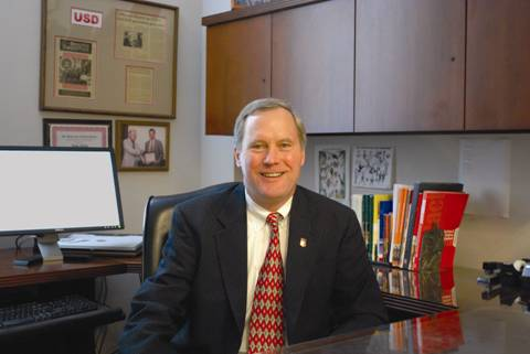 John Gillis in his office at the National Federation of State High School Associations in Indianapolis