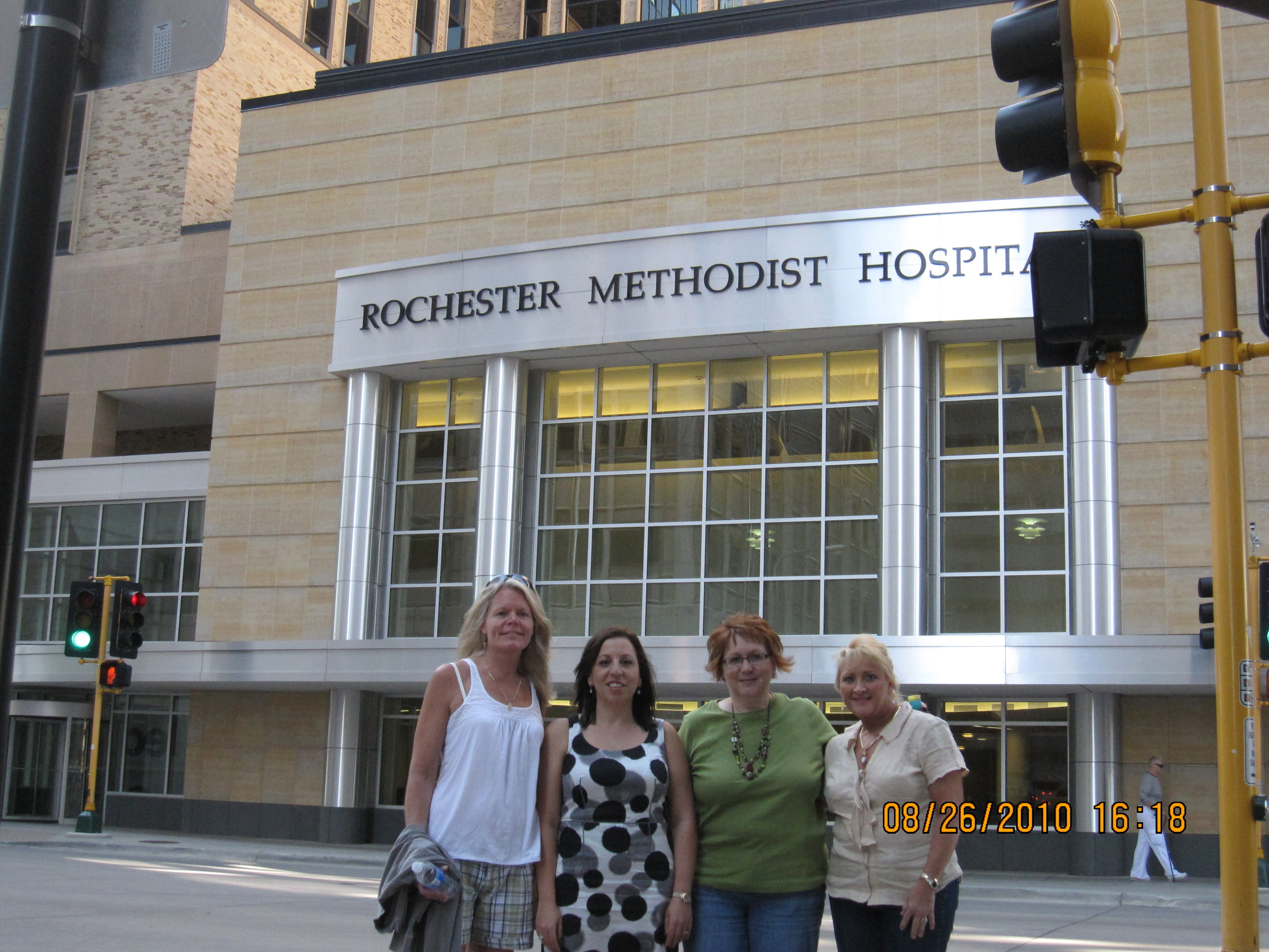 The Hippy Sisters in front of Rochester Methodist Hospital