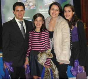 """The family attending """"A Night with Mayo Clinic"""" for the opening of Mayo's information office in Quito, Ecuador, in January 2011"""