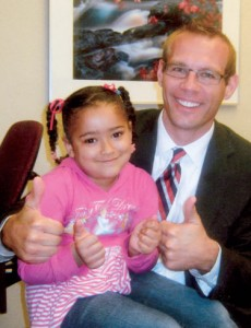 Anistasia and Dr. Carlsen giving thumbs up