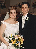 Laurie Beach and her husband on their wedding day.
