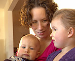 Tanya Ginther and her two children.