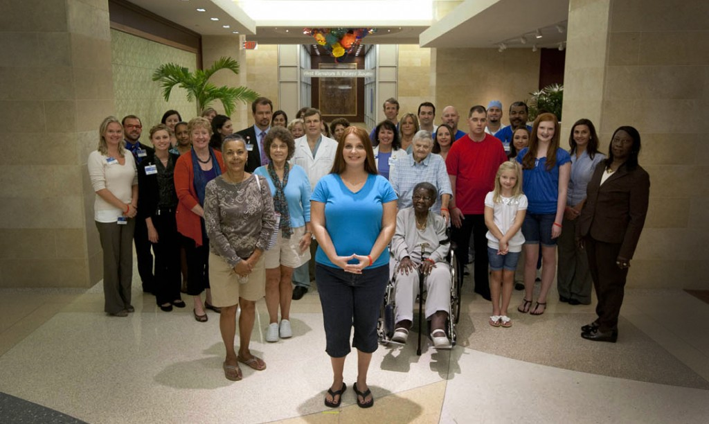 """Group photo of people in the American Heart Association's """"Together to End Stroke"""" PSA video"""