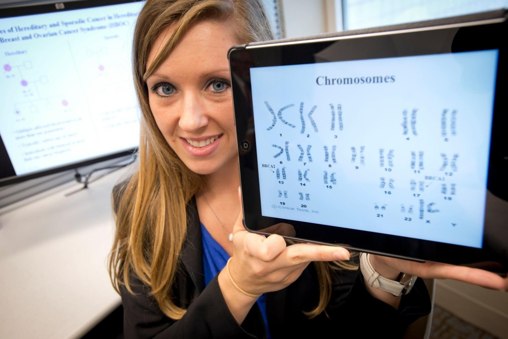 Maegan Roberts, a certified genetic counselor at Mayo Clinic, helps determine if someone should be tested for cancer-causing genes. She works closely with the Breast Clinic at Mayo Clinic.