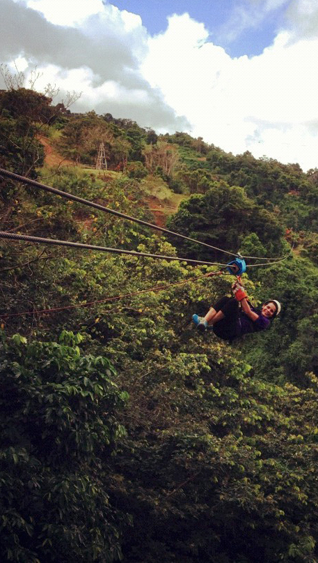 Dorylee Baez glides easily down a zip line in Toro Verde Nature Adventure Park in Orocovis, Puerto Rico. Dorylee and friends frequently go hiking, zip lining and cave exploring at different locales on the island.