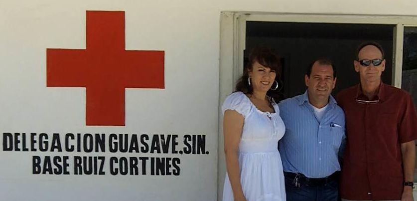 Mayo Clinic urologist, Dr. Robert Ferrigni, International Patient Coordinator, Mila Vargas, and Carlos Bloch from the Mexican Red Cross gather at the Los Mochis, Mexico Delegation Office.