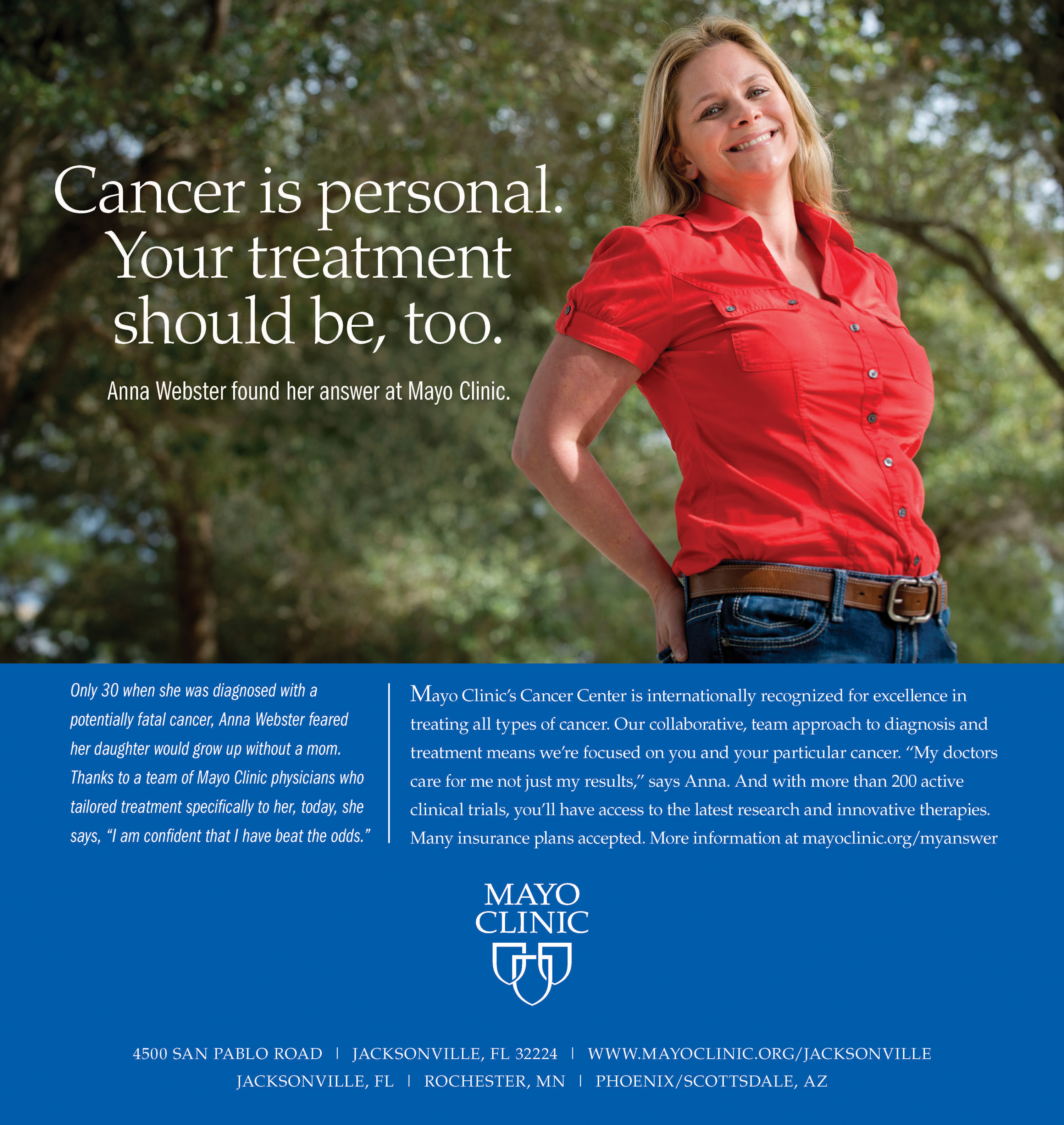 Anna Webster in a Mayo Clinic printed advertisement
