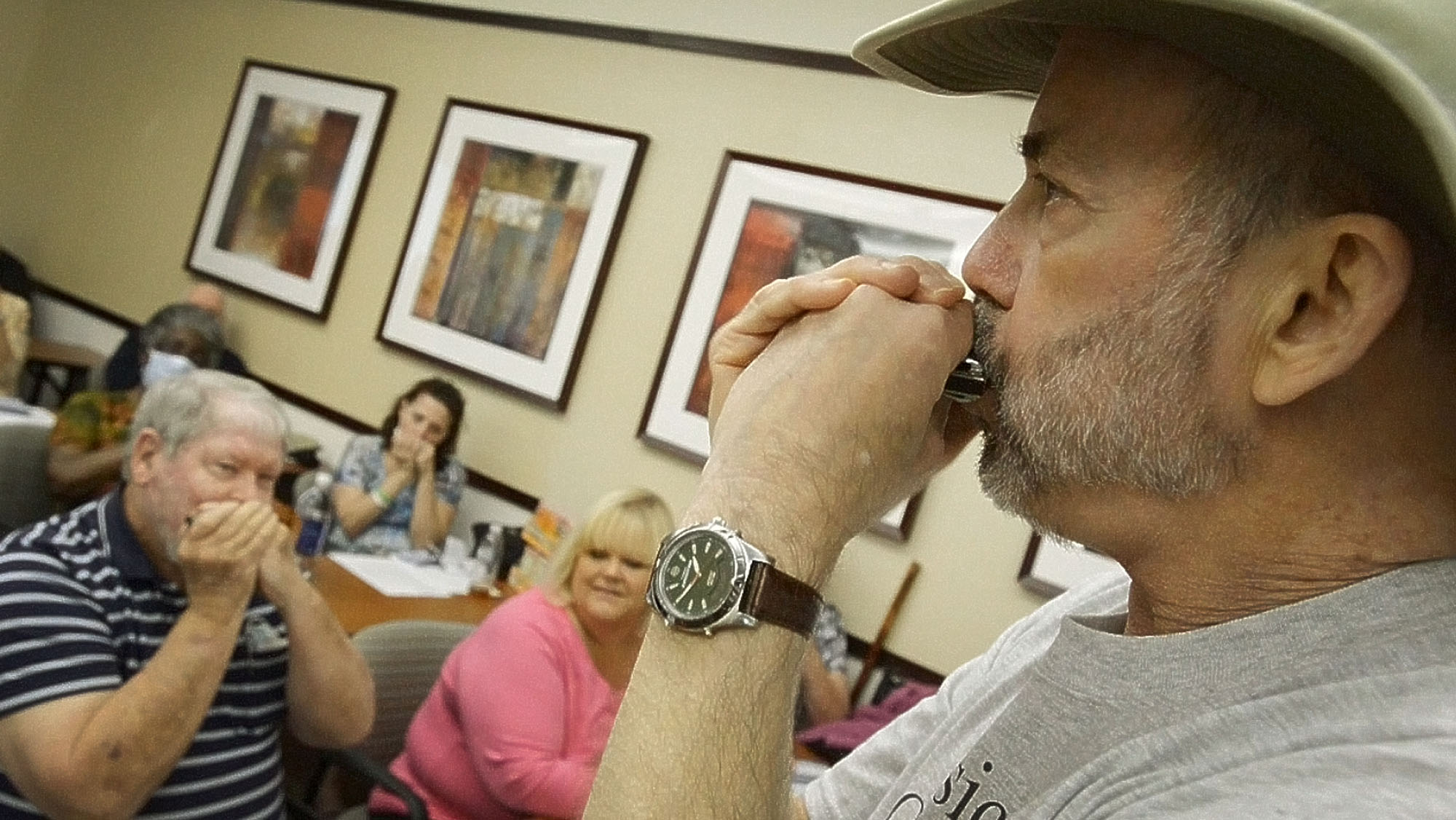 Mayo Clinic lung-transplant patient, Larry Rawdon, shares how the harmonica can help other patients breath easier.