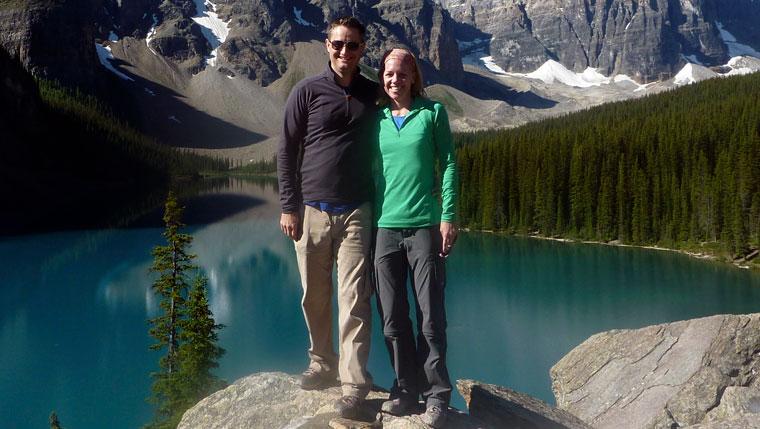 Jessica Veach with husband, Colin, in Banff, Alberta.