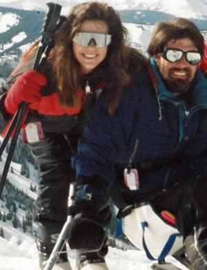 Amy and Jeff Supergan skiiing together in Colorado.