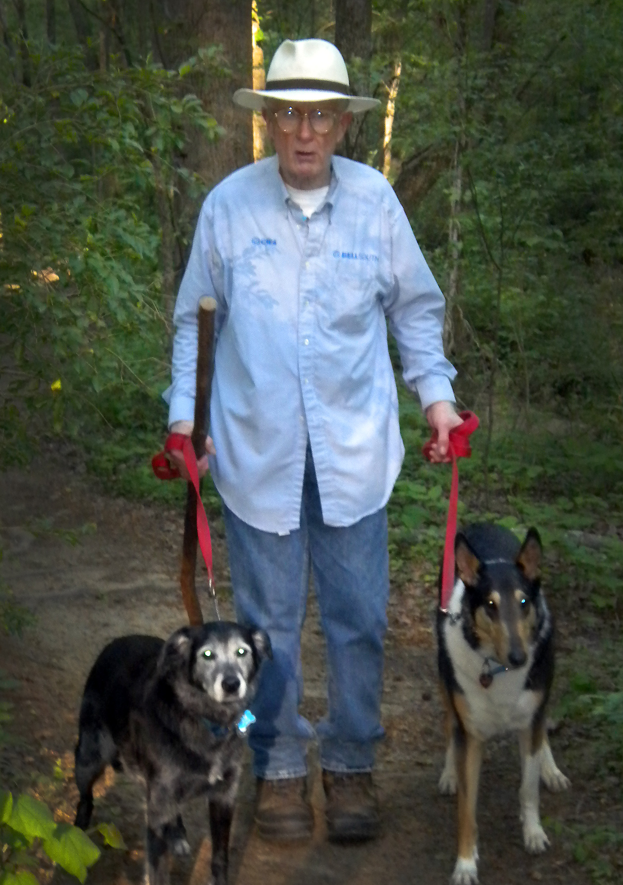 Mayo Clinic patient James Donaghy walking his two dogs.