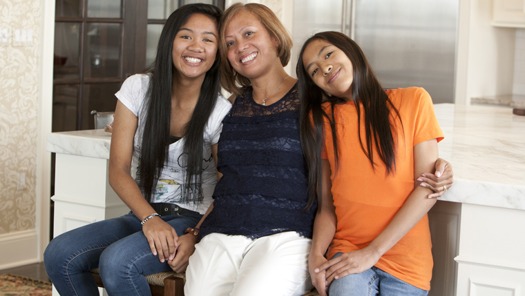 Lorena Rivera with two of her three children.