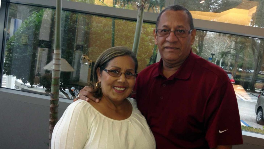 Mayo Clinic patient Nellie Betancourt (left) with her husband Marcelo Castro on the Mayo Clinic in Florida campus January 2015.