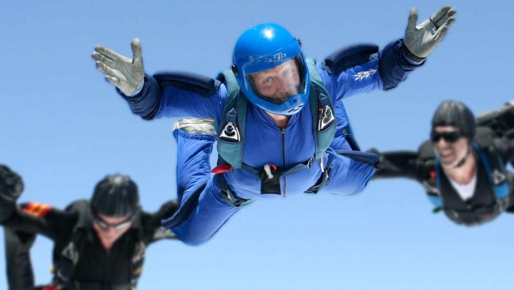 Kim Dobson, 63, of Oveido, Florida, skydiving.