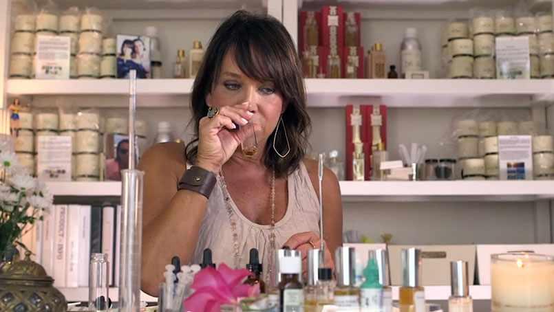 Kim Spadaro at work in her perfume studio.