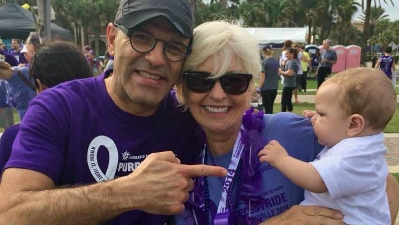 Judi, center, with Dr. Horacio Asbun, Mayo Clinic surgeon (center), and her grandson Jude, at the 2014 Pancreatic Cancer Walk.