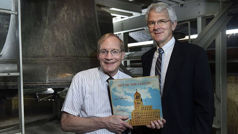 Carillonneur Jeff Daehn and Dr. David Daugherty with the carillon recording.