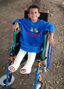 Gabriel had surgery on both knees in March.