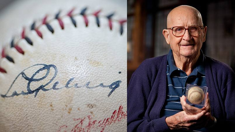 Bob Tierney and his baseball, autographed by Lou Gehrig.