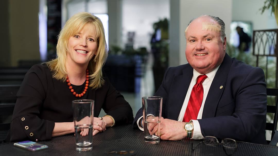 John Murphy, a Mayo Clinic Public Affairs specialist, wasn't expecting his friend and co-worker, Carol Lammers, to remark on an age spot on his forehead, but he's glad she did.