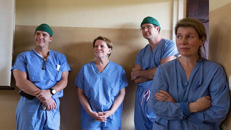 Left to right are Eric Dozois, M.D., Lois Mc Guire, Sean Dowdy, M.D., and Deborah Rhodes, M.D.