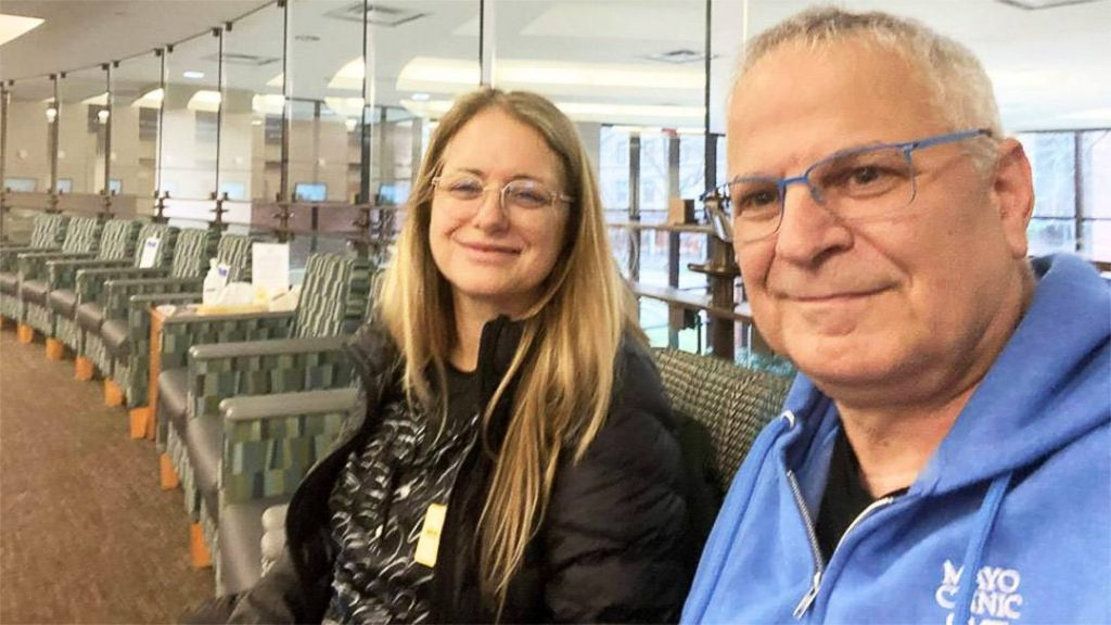 Yiftah Geva recalls how empty the waiting rooms were at Mayo Clinic in March. He and his wife, Sigal, wait to be called for an appointment a few days prior to surgery for hypertrophic cardiomyopathy.